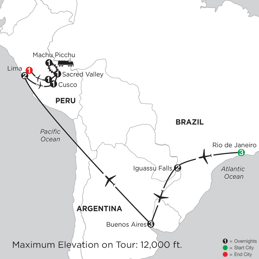 Itinerary map of Grand Tour Of South America