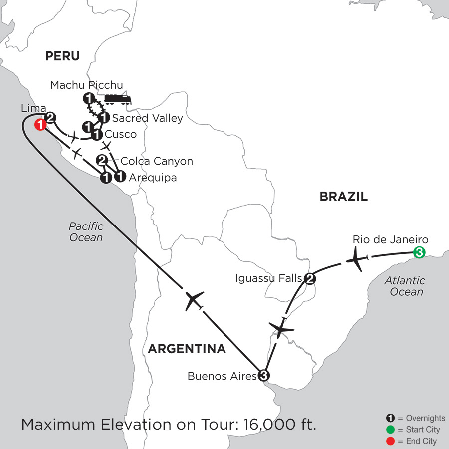 Itinerary map of Grand Tour Of South America With Arequipa & Colca Canyon