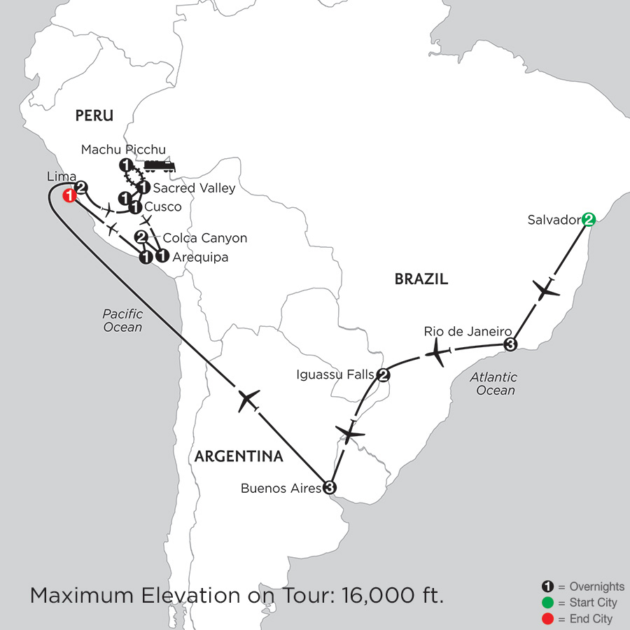 Itinerary map of Grand Tour Of South America With Salvador, Arequipa & Colca Canyon