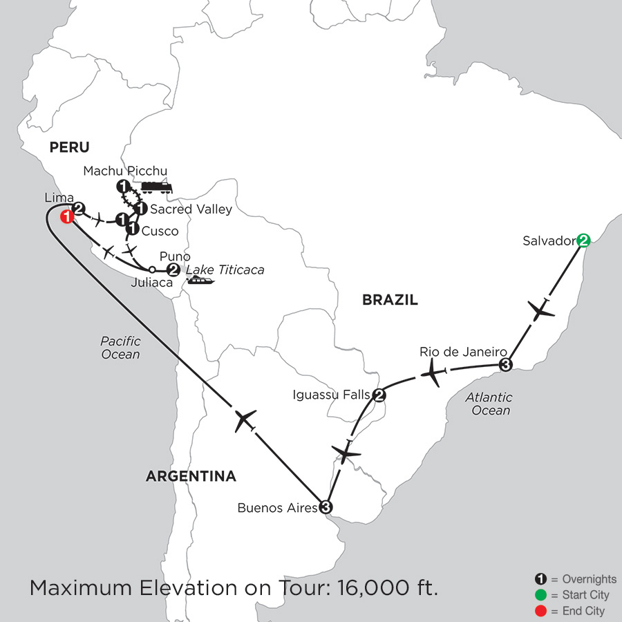 Itinerary map of Grand Tour Of South America With Salvador & Lake Titicaca