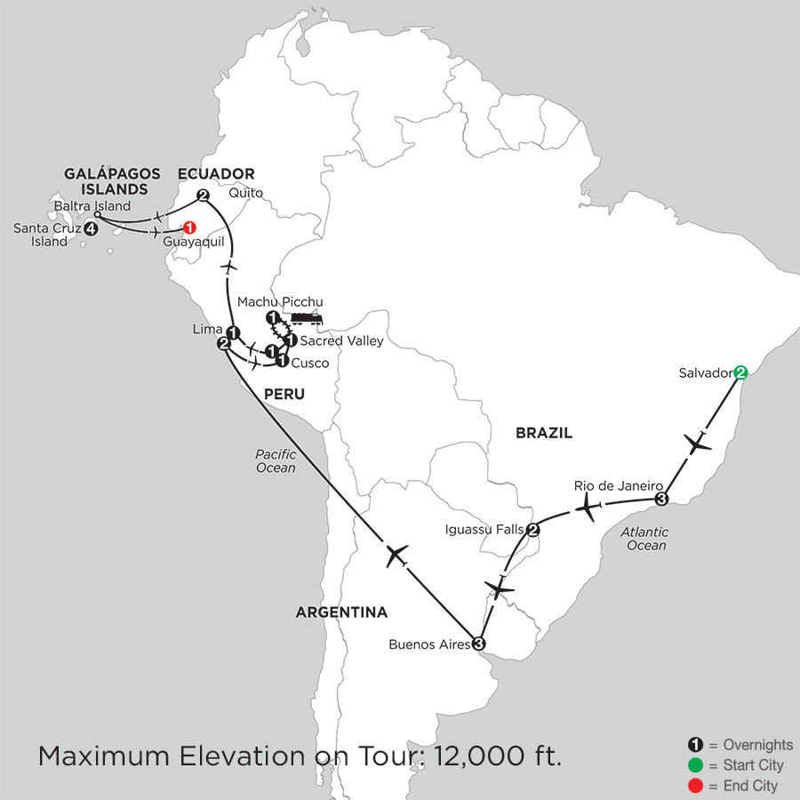 Itinerary map of GRAND TOUR OF SOUTH AMERICA WITH SALVADOR & THE FINCH BAY IN THE GALAPAGOS