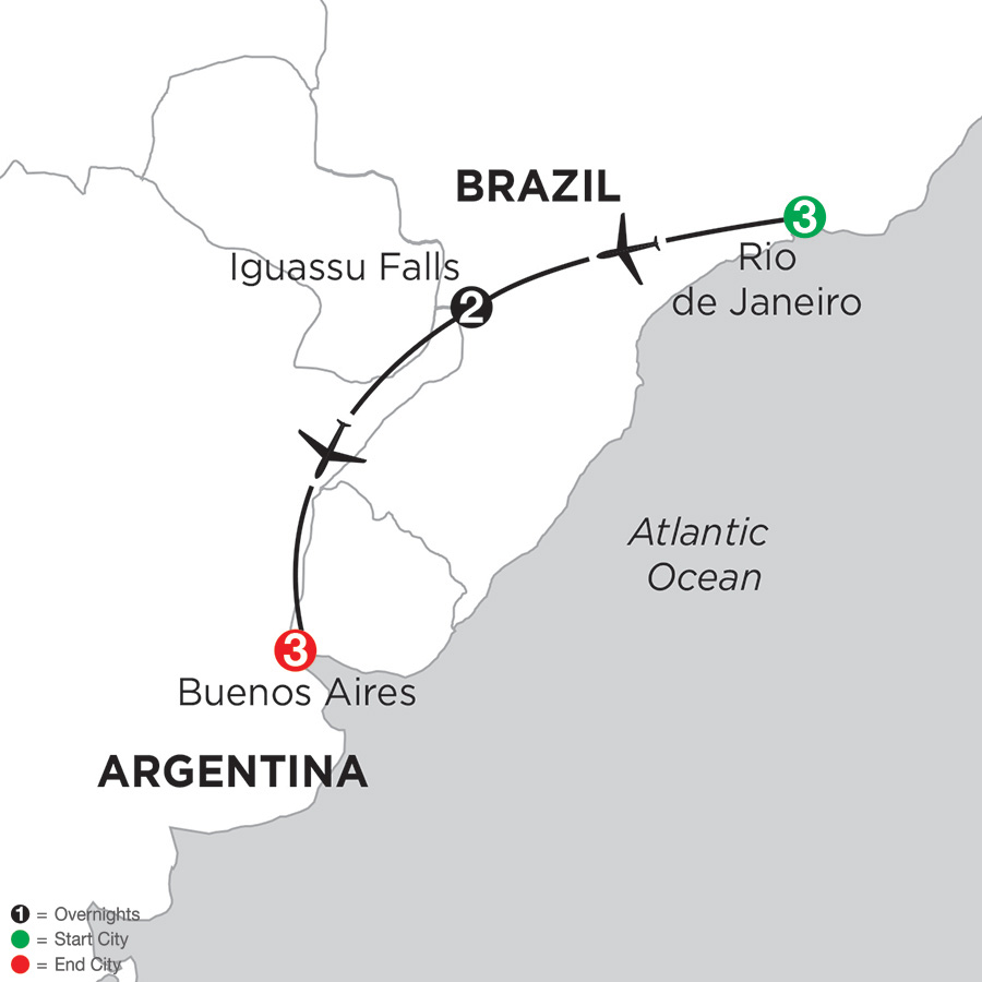 Itinerary map of South American Selection