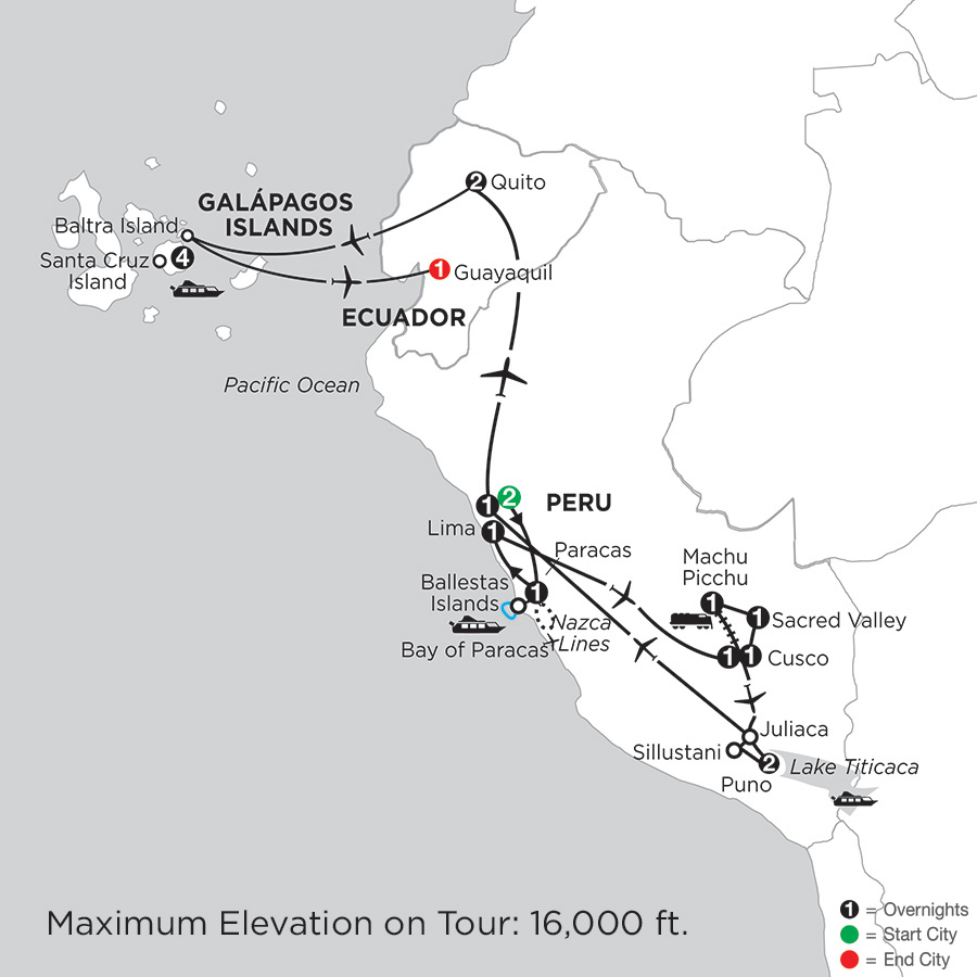 Itinerary map of Andean Explorer With The Finch Bay In The Galapagos
