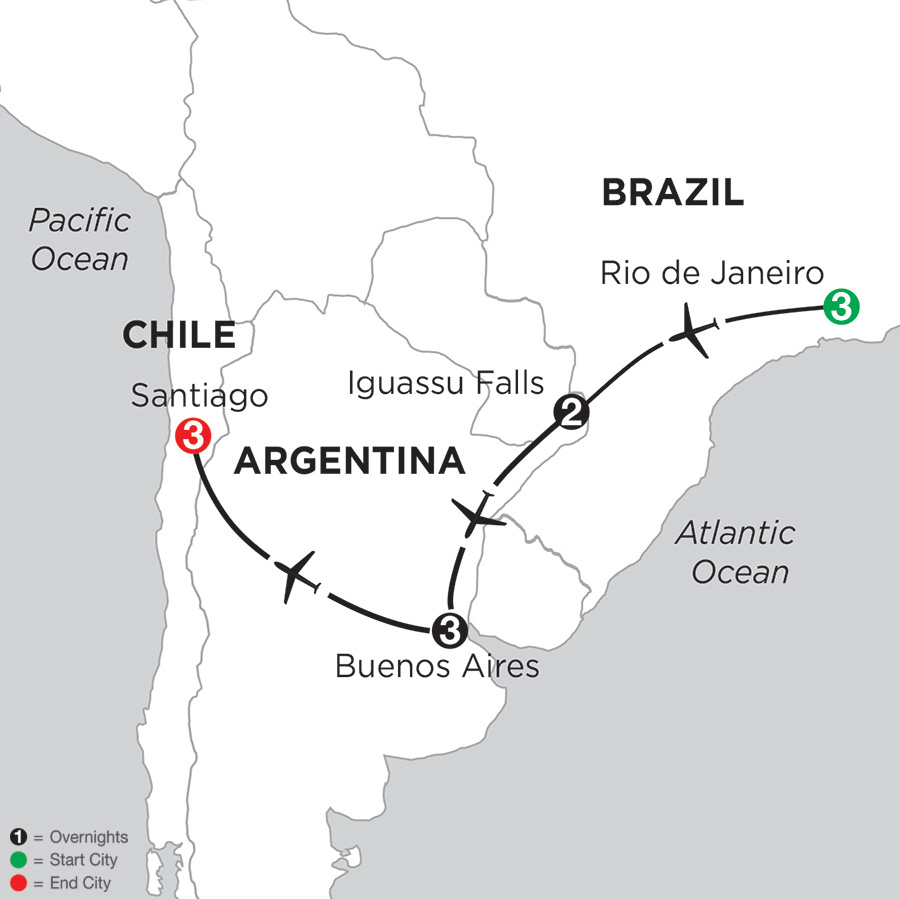 Itinerary map of Brazil, Argentina & Chile