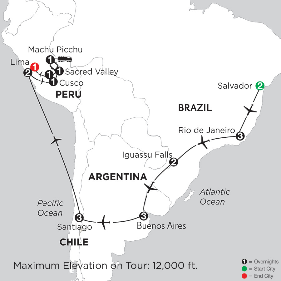 Itinerary map of Brazil, Argentina & Chile With Salvador, Peru & Machu Picchu