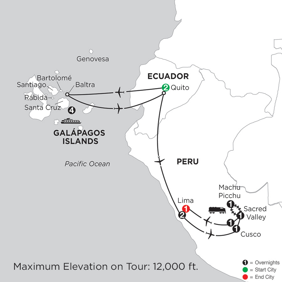 Itinerary map of Cruising the Galápagos on board the Santa Cruz II with Peru