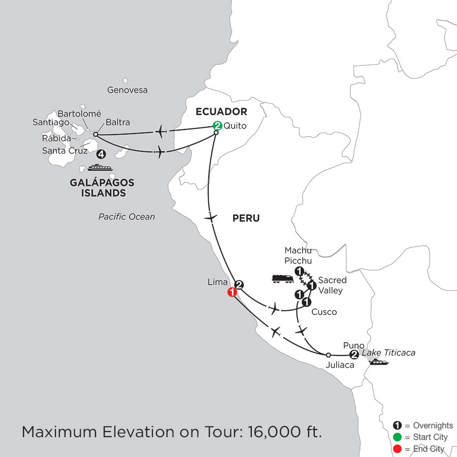 Itinerary map of Cruising the Galápagos on board the Santa Cruz II with Peru & Lake Titicaca
