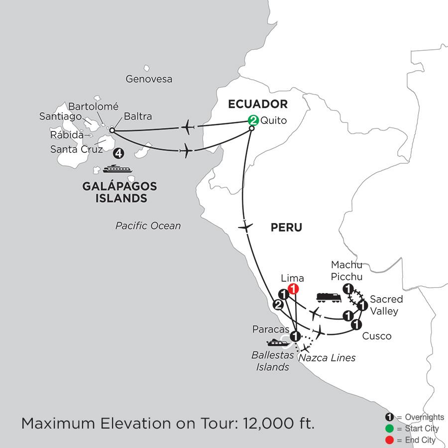 Itinerary map of Cruising the Galápagos on board the Santa Cruz II with Peru & Nazca Lines