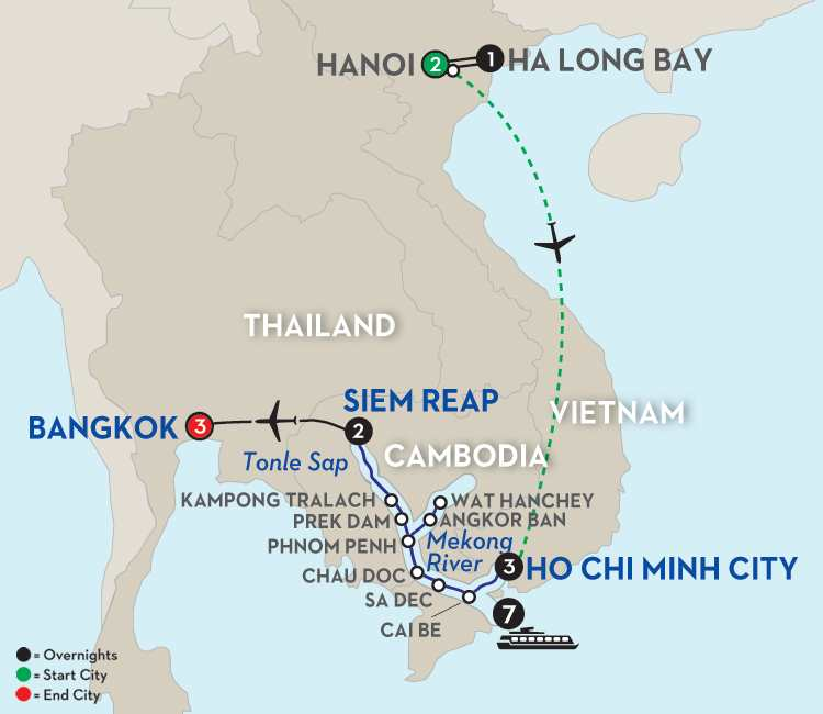 Fascinating Vietnam, Cambodia & the Mekong River with Hanoi, Ha Long Bay & Bangkok – Northbound