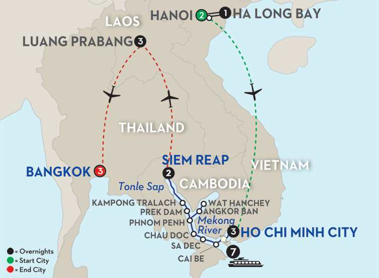 Fascinating Vietnam, Cambodia & the Mekong River with Hanoi, Ha Long Bay, Luang Prabang & Bangkok – Northbound