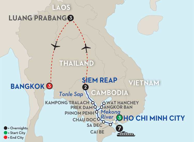 Fascinating Vietnam, Cambodia & the Mekong River with Luang Prabang & Bangkok – Northbound