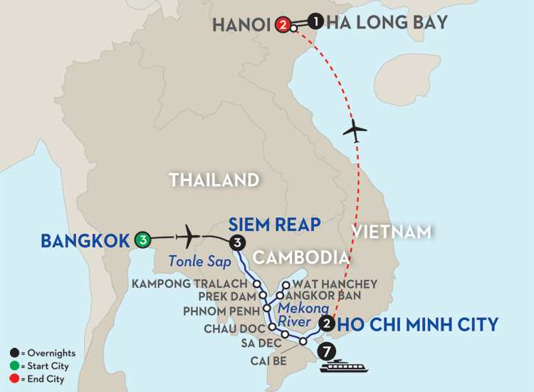 Fascinating Vietnam, Cambodia & the Mekong River with Bangkok, Hanoi & Ha Long Bay - Southbound