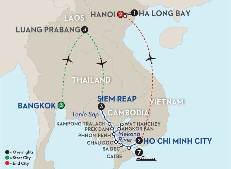 Fascinating Vietnam, Cambodia & the Mekong River with Bangkok, Luang Prabang, Hanoi & Ha Long Bay - Southbound
