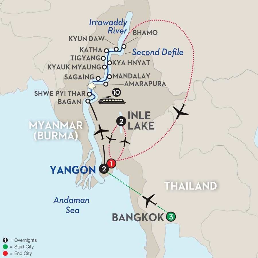 Golden Myanmar & the Alluring Irrawaddy with Bangkok & Inle Lake – Northbound