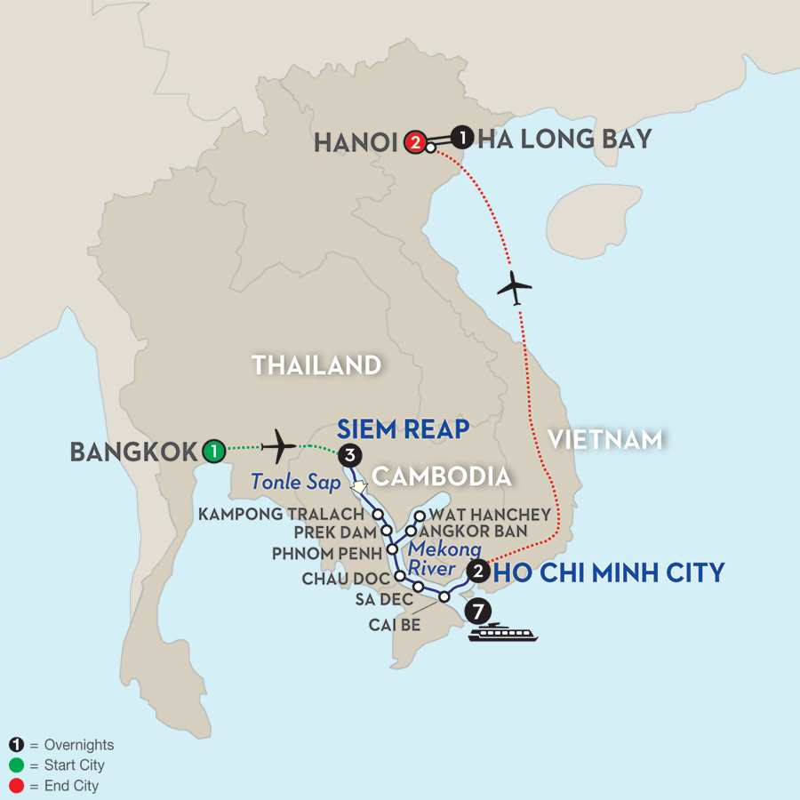Fascinating Vietnam, Cambodia & the Mekong River with Hanoi & Ha Long Bay & Bangkok – Southbound