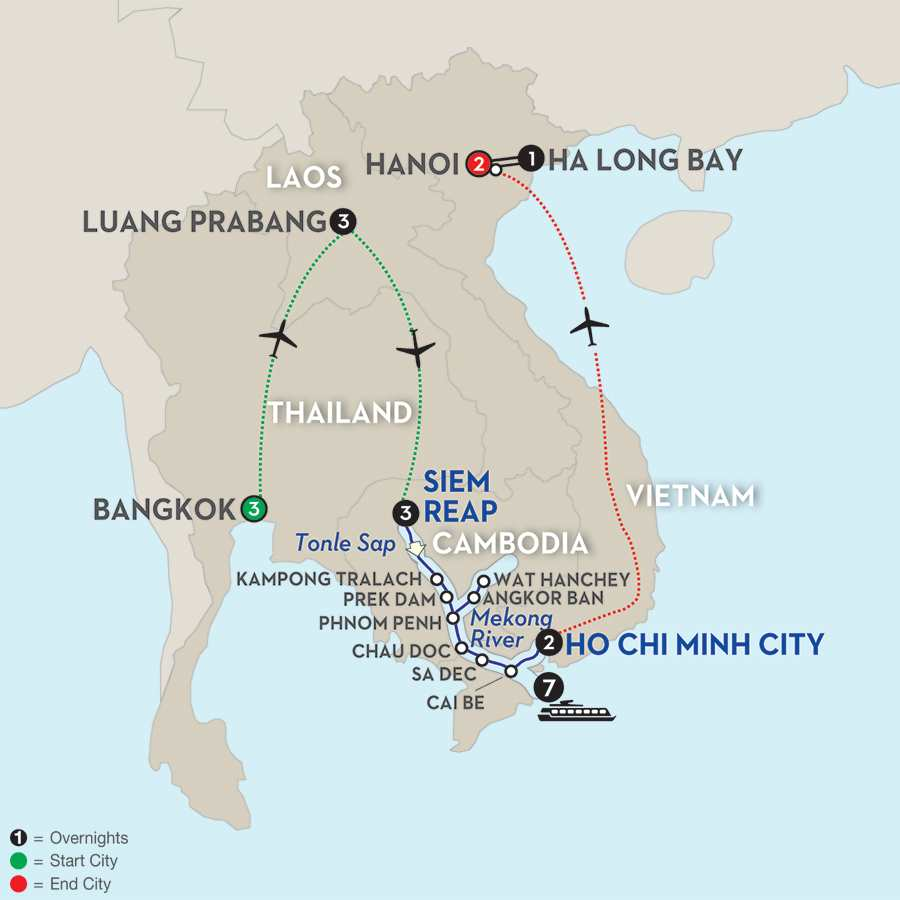 Fascinating Vietnam, Cambodia & the Mekong River with Bangkok, Luang Prabang, Hanoi & Ha Long Bay – Southbound