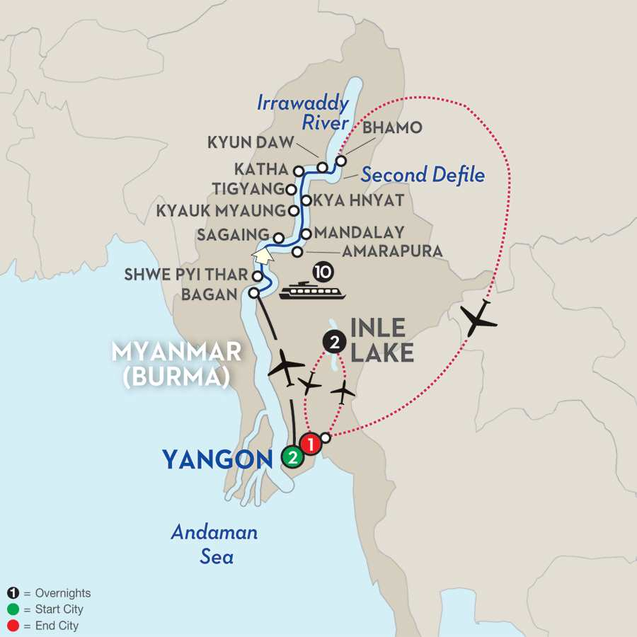 Golden Myanmar & the Alluring Irrawaddy with Inle Lake – Northbound