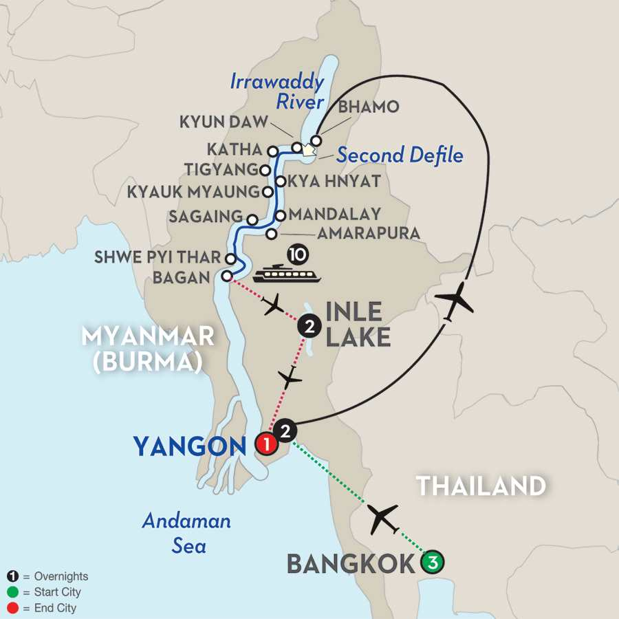 Golden Myanmar & the Alluring Irrawaddy with Bangkok & Inle Lake – Southbound