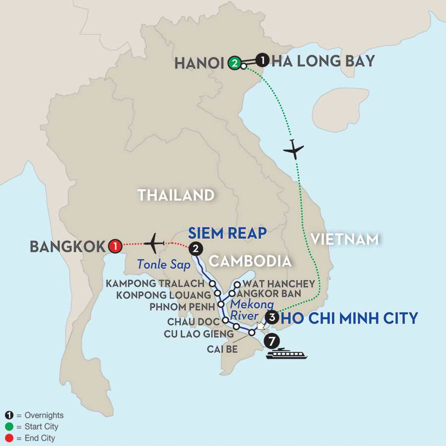 Fascinating Vietnam, Cambodia & the Mekong River with Hanoi & Ha Long Bay & Bangkok – Northbound