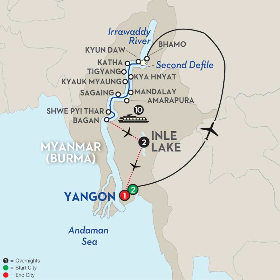 Golden Myanmar & the Alluring Irrawaddy with Inle Lake – Southbound