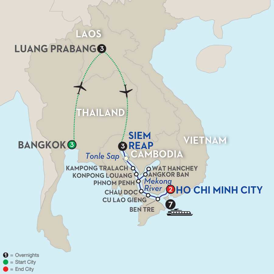 Fascinating Vietnam, Cambodia & the Mekong River with Luang Prabang & Bangkok – Southbound