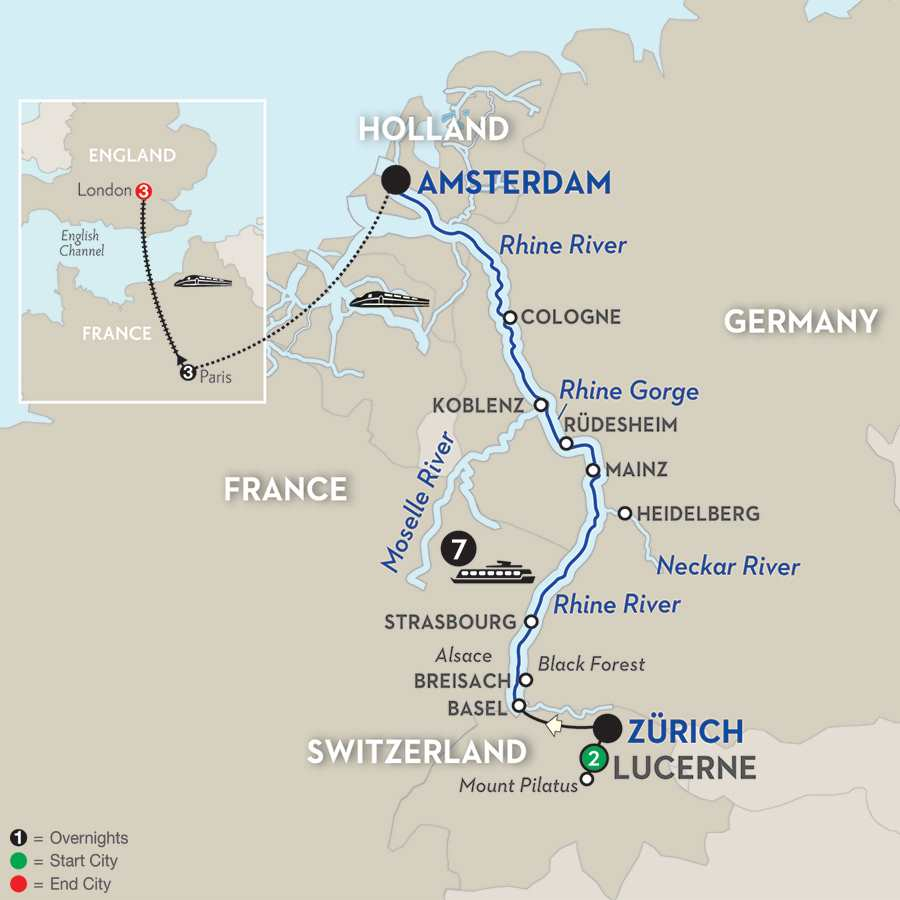 Festive Time on the Romantic Rhine with Lucerne, Paris & London – Northbound