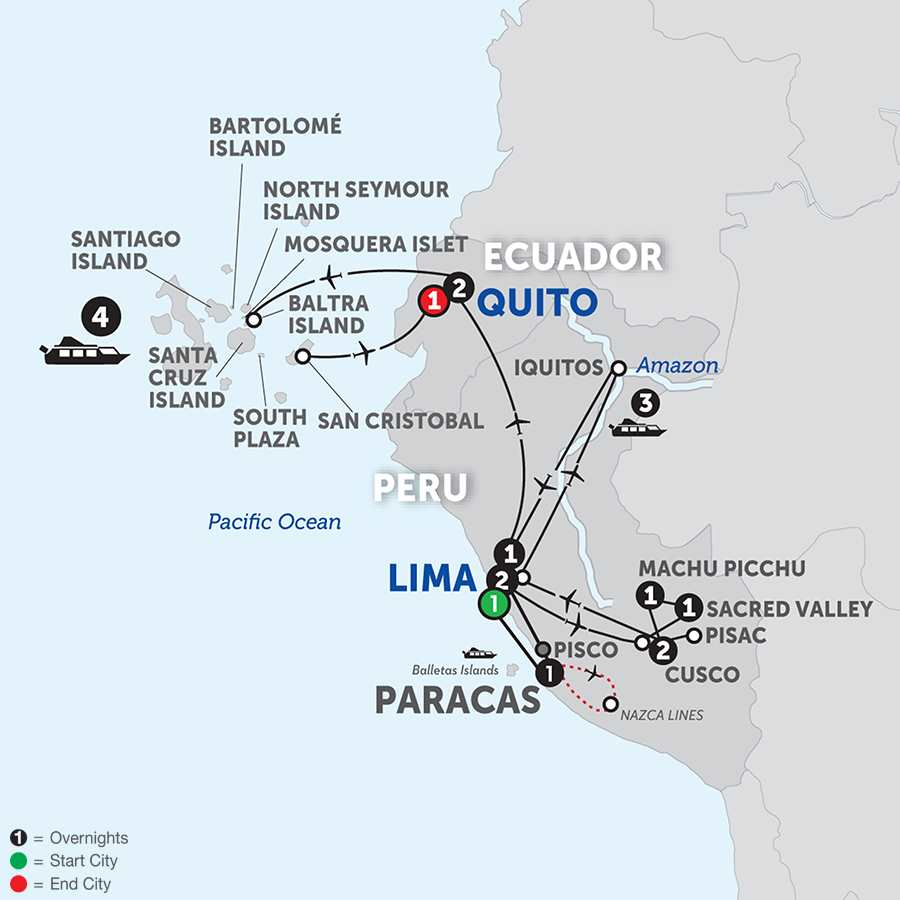 From the Inca Empire to the Peruvian Amazon with the Nazca Lines & Galápagos Cruise
