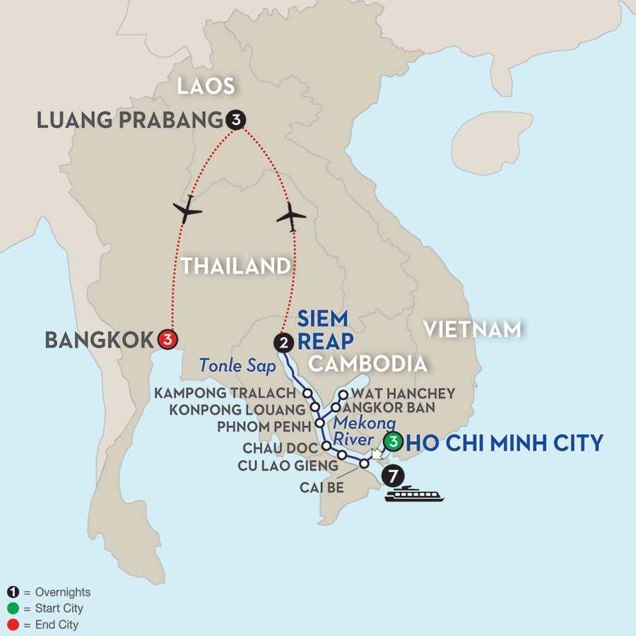 Fascinating Vietnam, Cambodia & the Mekong River with Luang Prabang & Bangkok – Northbound