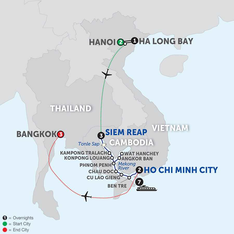 Fascinating Vietnam, Cambodia & the Mekong River with Hanoi, Ha Long Bay & Bangkok – Southbound
