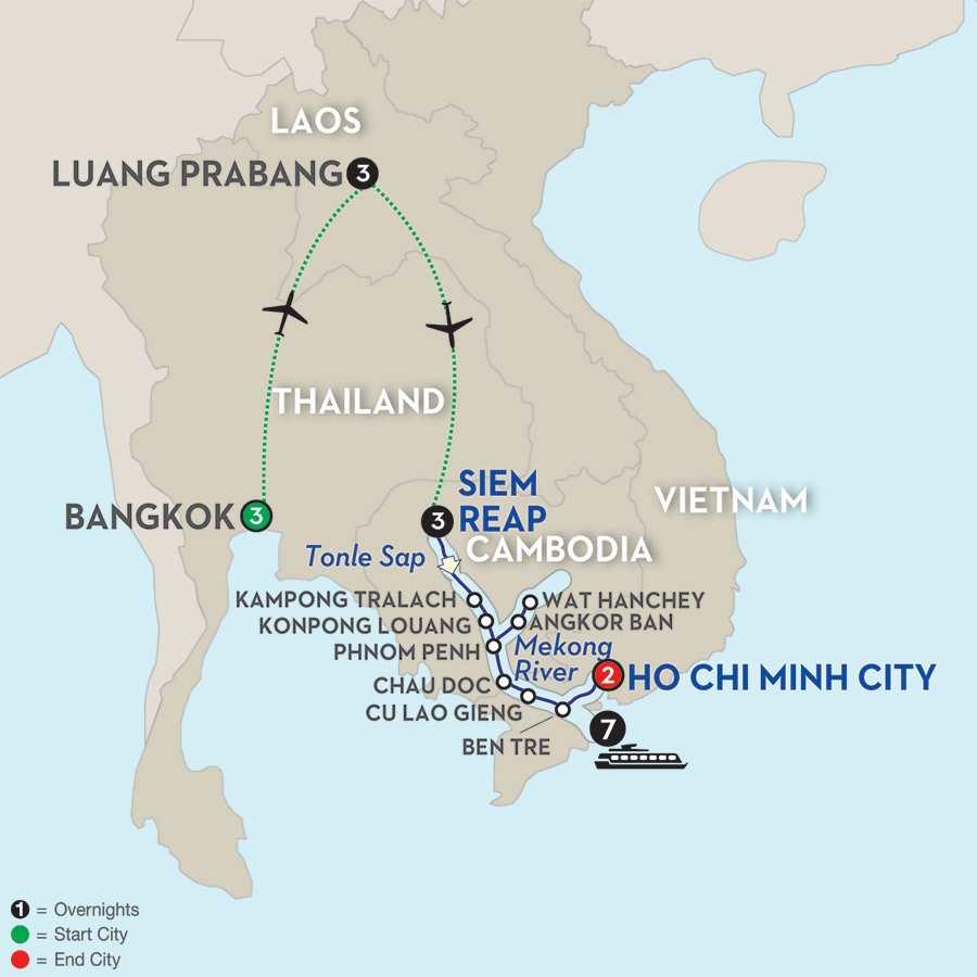 Fascinating Vietnam, Cambodia & the Mekong River with Luang Prabang & Bangkok – Southbound