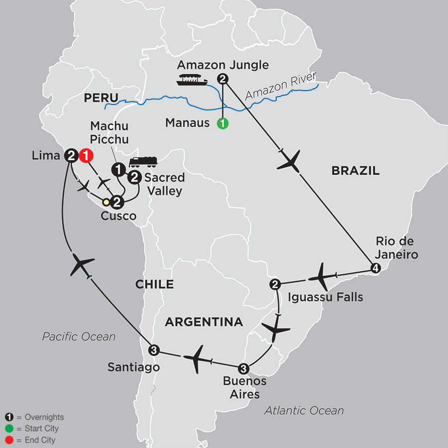 Brazil, Argentina & Chile Unveiled with Brazil's Amazon & Peru