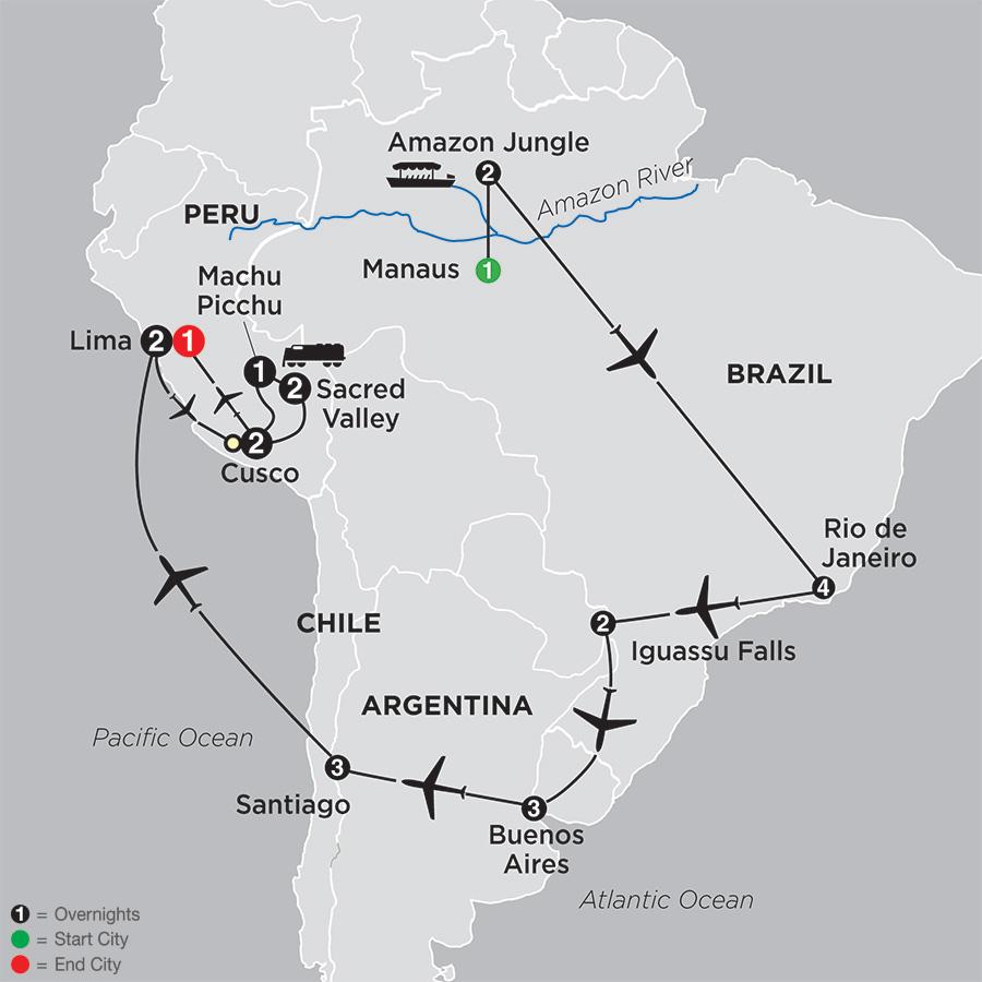 Brazil, Argentina & Chile Unveiled with Brazil's Amazon & Peru