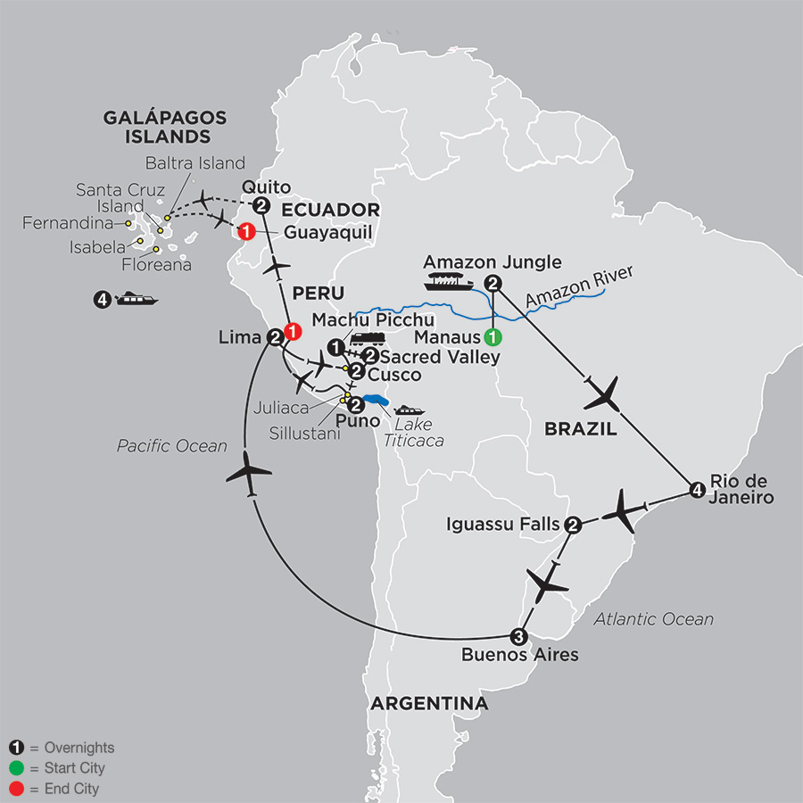 Ultimate South America with Brazil's Amazon & Galápagos Cruise