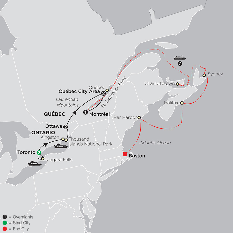 Ontario & French Canada with Canada & New England Cruise