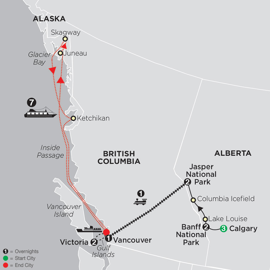 VIA Rail and the Canadian Rockies with Calgary Stampede & Alaska Cruise