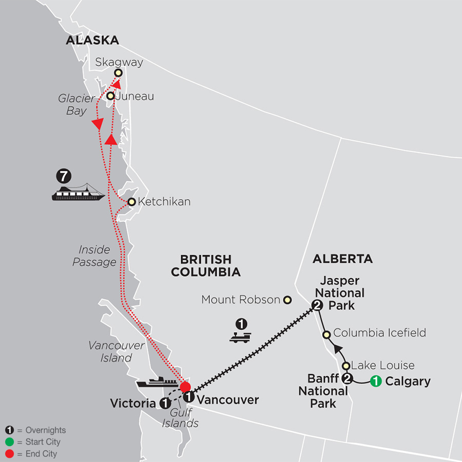 VIA Rail and the Canadian Rockies with Alaska Cruise