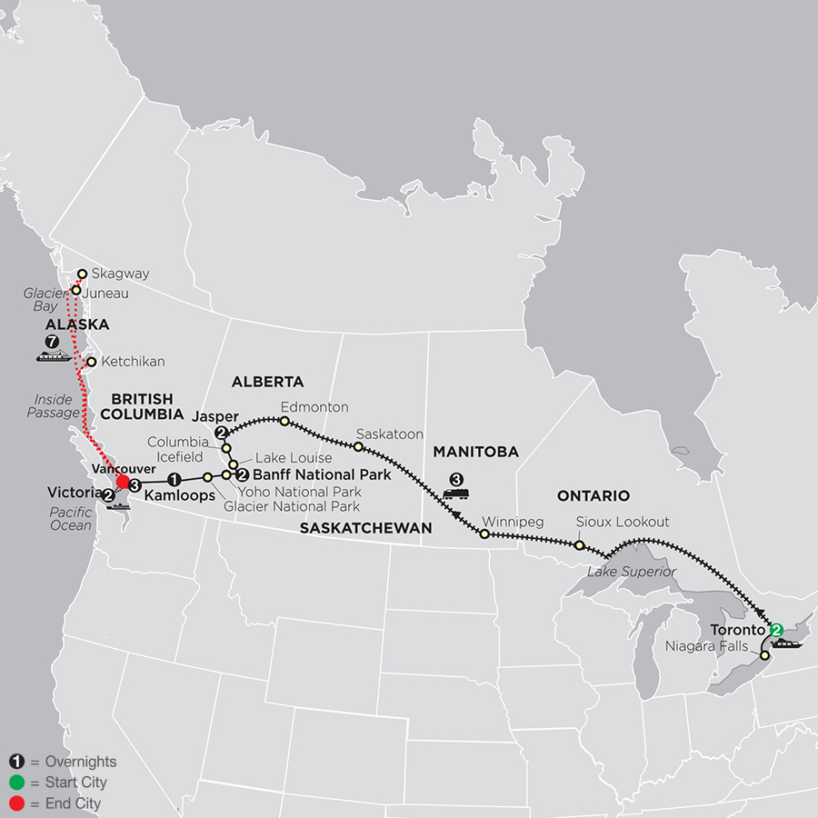 Canadian Train Odyssey with Alaska Cruise