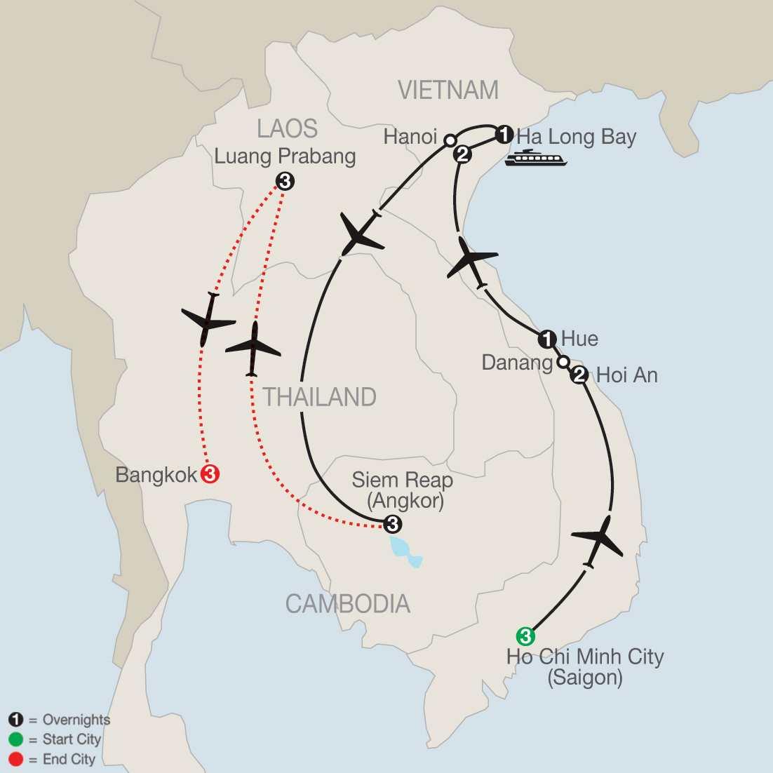 Exploring Vietnam & Cambodia with Luang Prabang & Bangkok