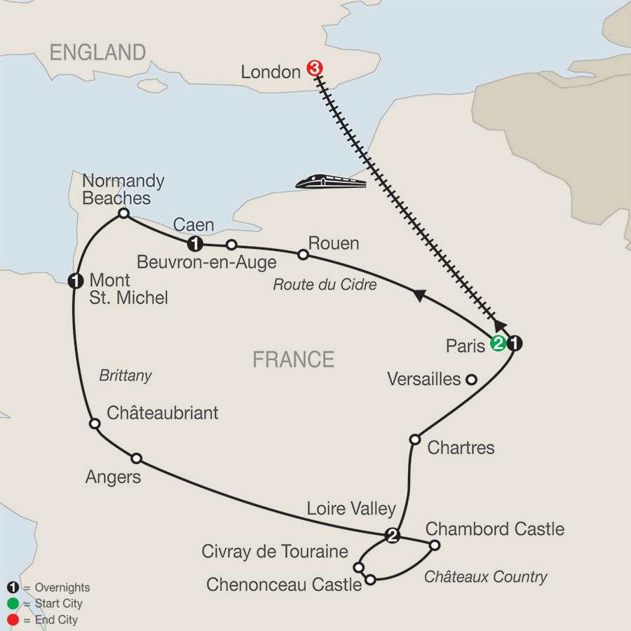 Normandy, Brittany & Châteaux Country with London