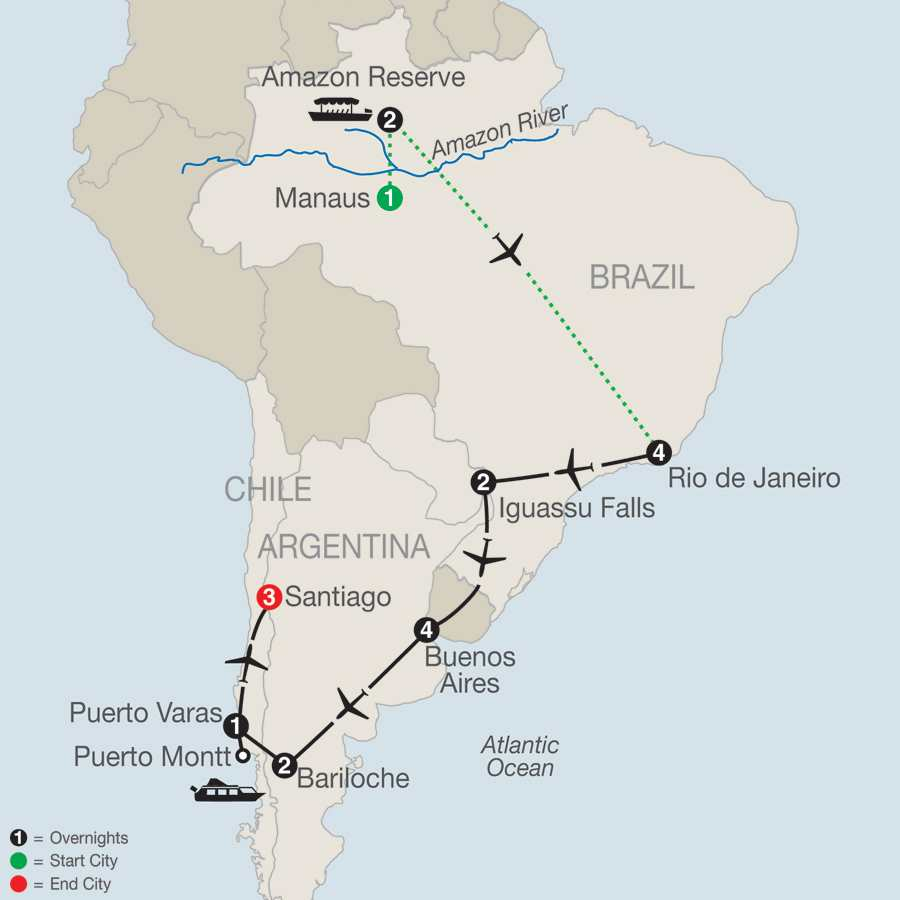 Central and South America Tours Globus Escorted Travel – Odyssey Travel Map