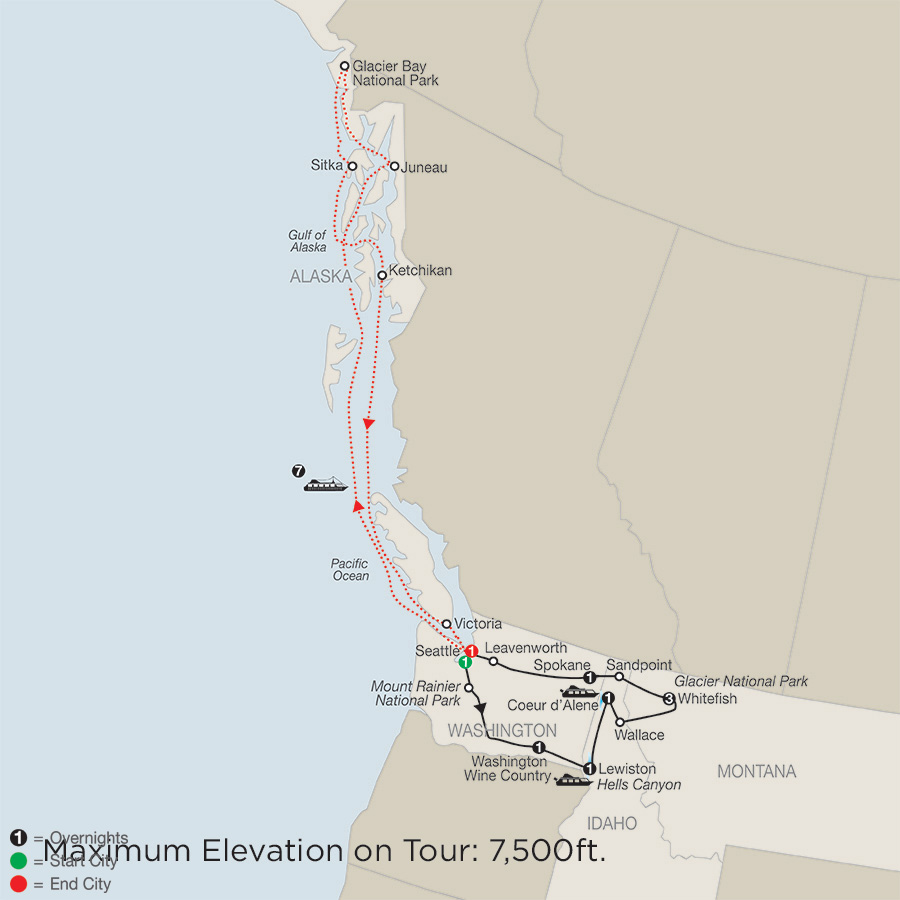 Discover Glacier National Park, Hells Canyon & Washington Wine Country with Alaska Cruise