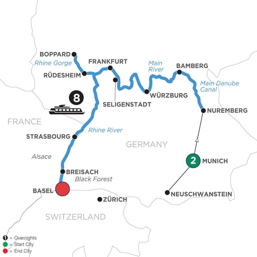 Map Of German Grandeur with 2 Nights in Munich (Westbound) (WNZQ2020)