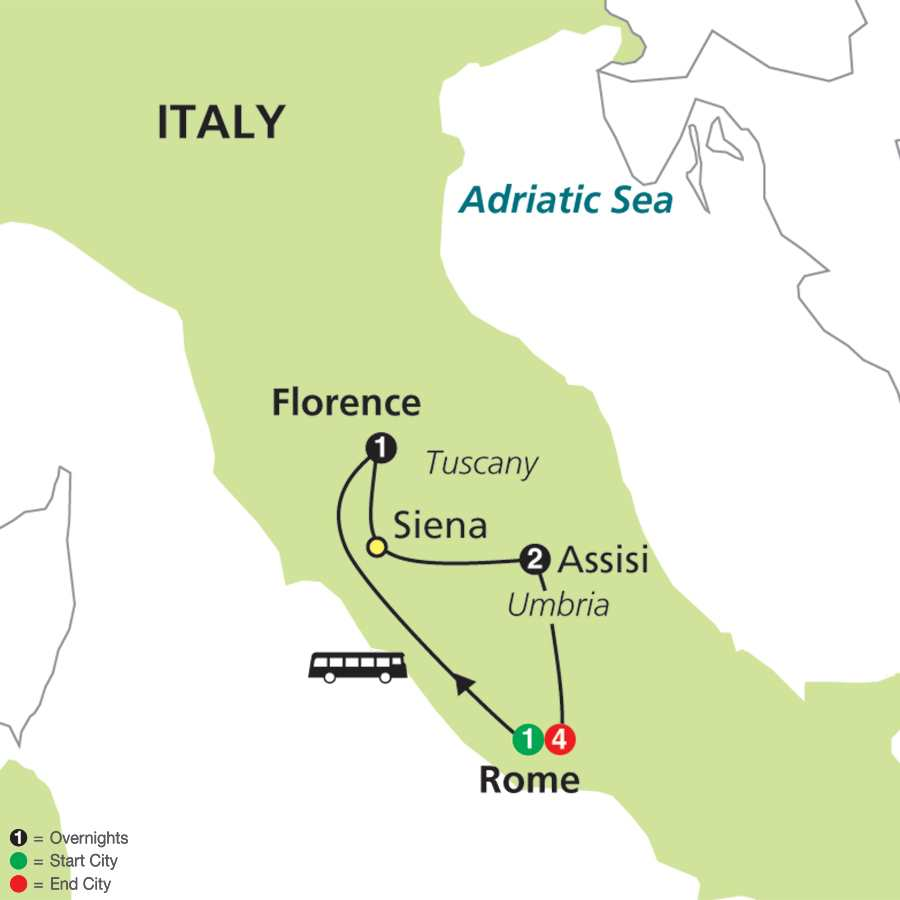 Itinerary map of Spiritual Highlights of Italy - Faith-Based Travel