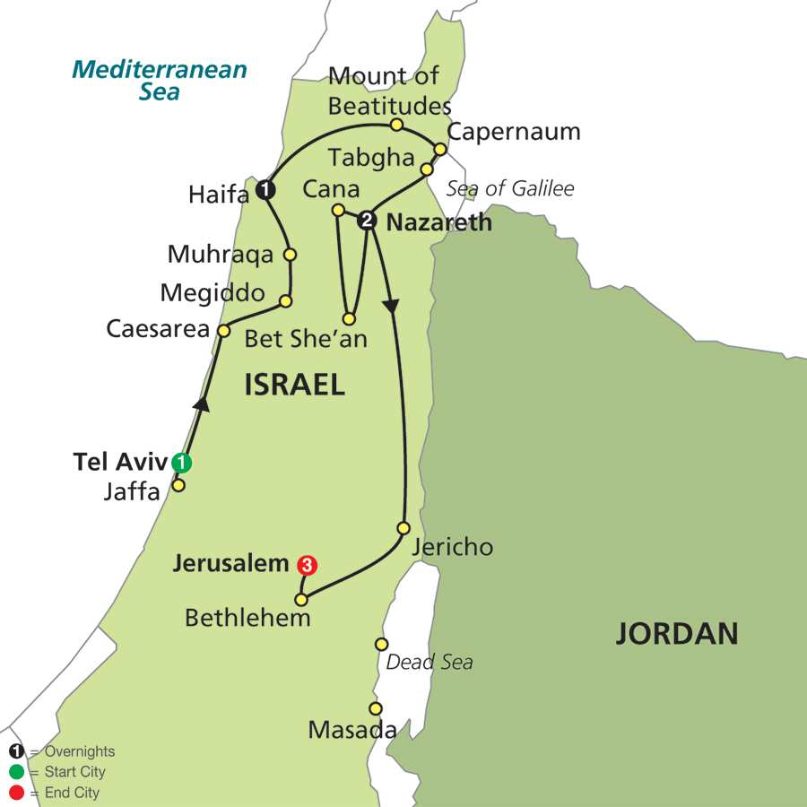 Itinerary map of Holy Land Discovery - Faith-Based Travel