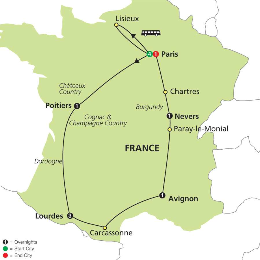 Itinerary map of Shrines of France & Lourdes - Faith-Based Travel