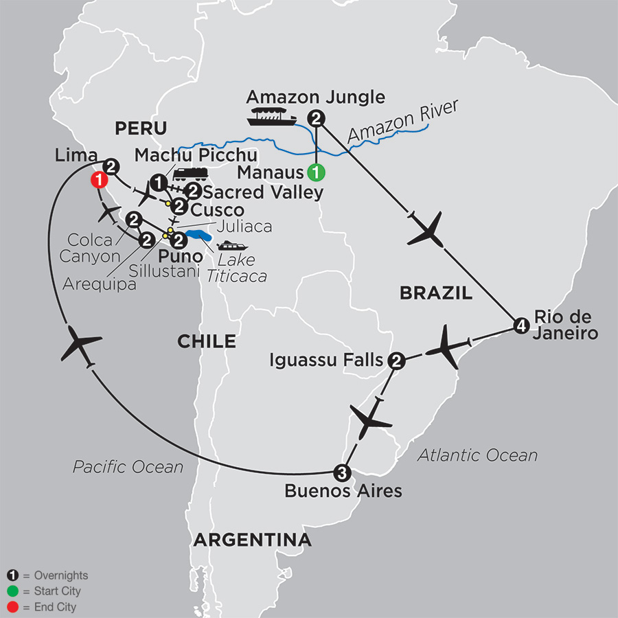 Ultimate South America with Brazils Amazon and Arequipa and Colca Canyon (12092019)