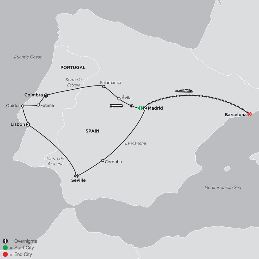 Lisbon, Seville and Madrid with Barcelona (679E2019)