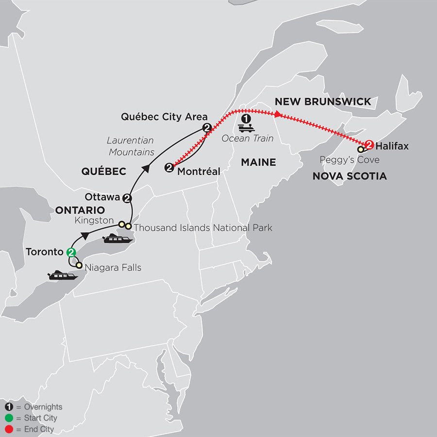 Ontario and French Canada with Ocean Train to Halifax (83342019)