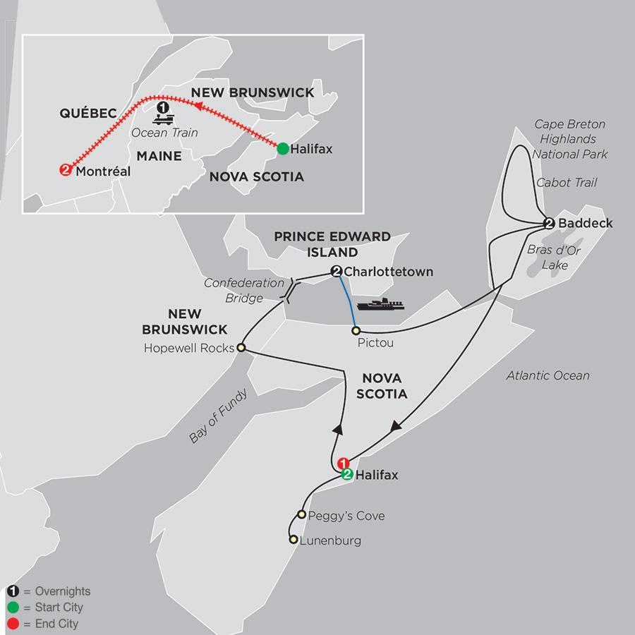 Atlantic Canadas Coastal Wonders with Ocean train to Montréal (88252019)