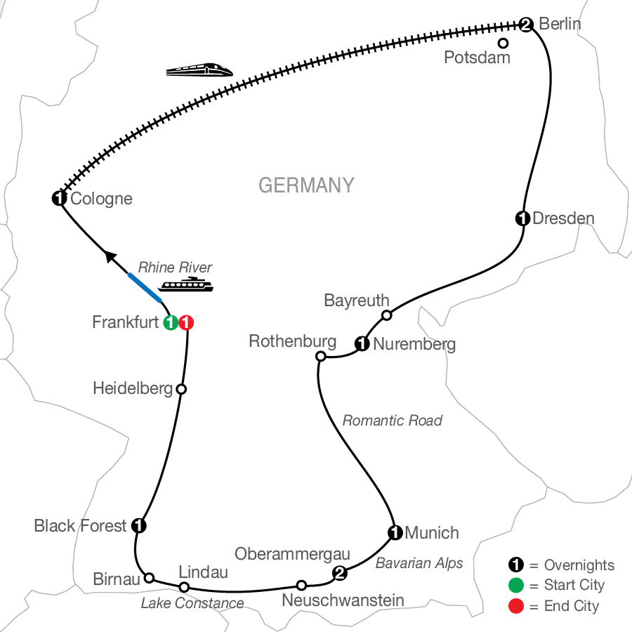Map Of German Highlights with Oberammergau FaithBased Travel (ZDO2022)